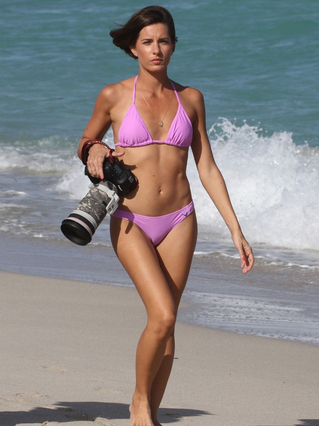 Logan Fazio in a Purple Bikini - Miami Beach, February 2014
