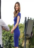 Maria Menounos in Clear Blue Tight Dress - Set of Extra in Universal City - February 2014