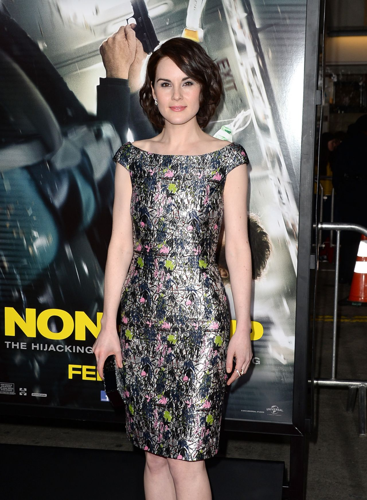 Michelle Dockery Wearing Christian Dior Lurex Dress – 'Non-Stop' LA Premiere