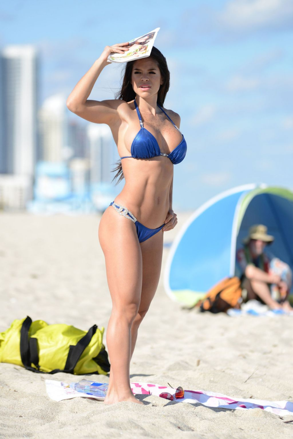 Michelle Lewin in Blue Bikini - Miami Beach, February 2014