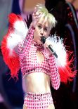 Miley Cyrus Performing  at Staples Center in Los Angeles, February 2014