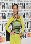 Myleene Klass WEaring Mark Fast Spring 2014 Dress - The BRIT Awards 2014
