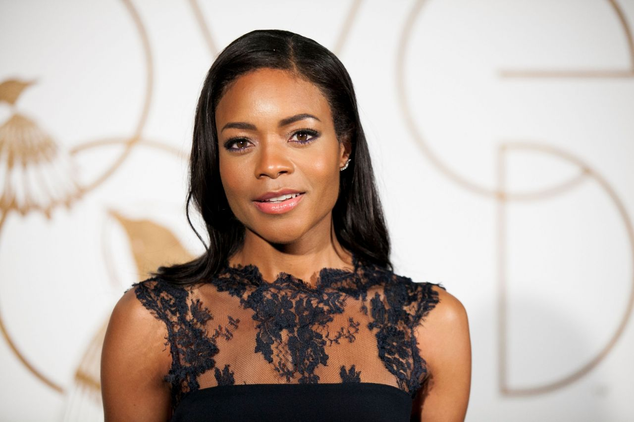 Naomie Harris Wearing Monique Lhuillier at LoveGold Cocktail Party 2014