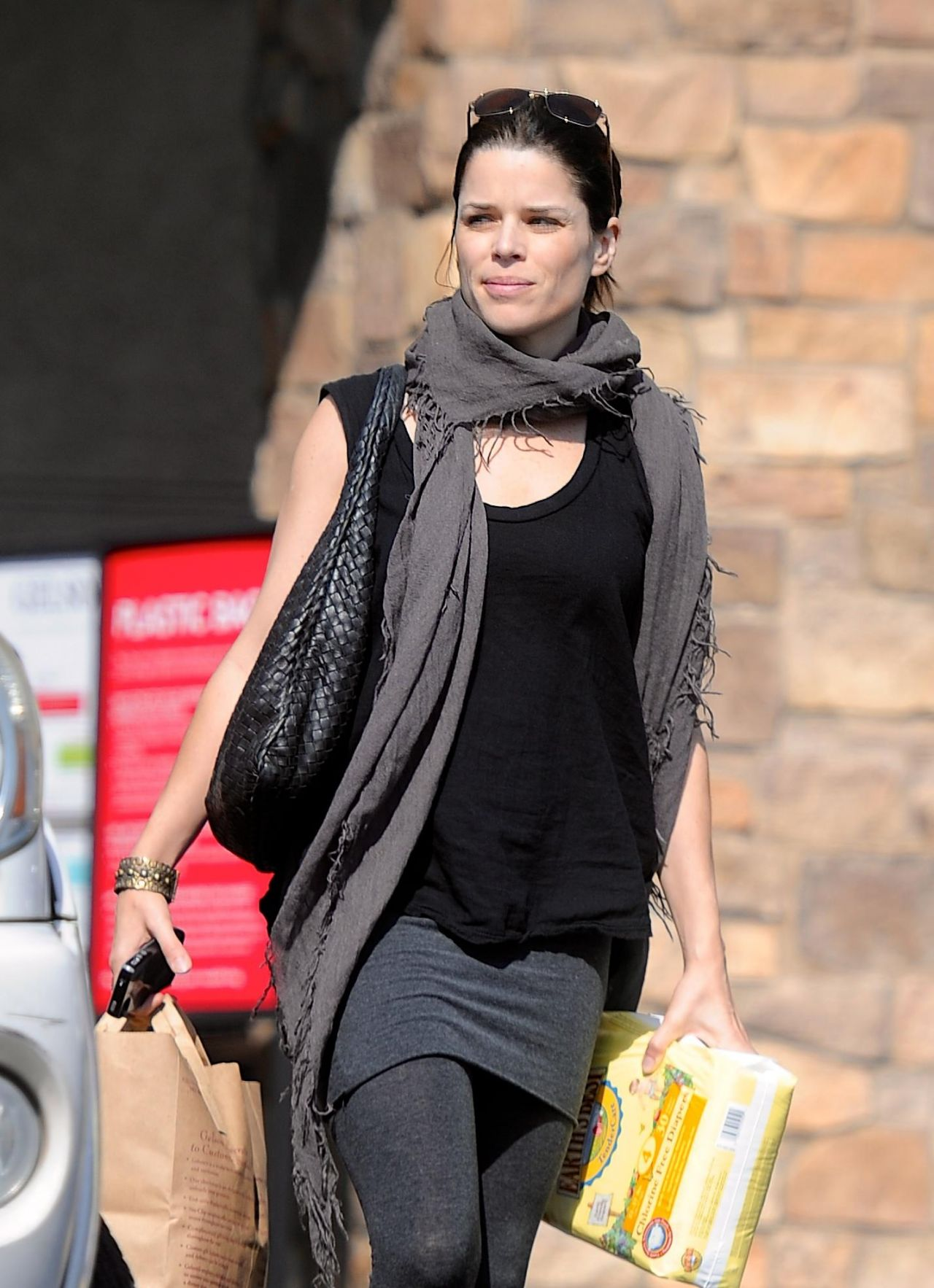 Neve Campbell Street Style - Shopping in Los Angeles, February 2014