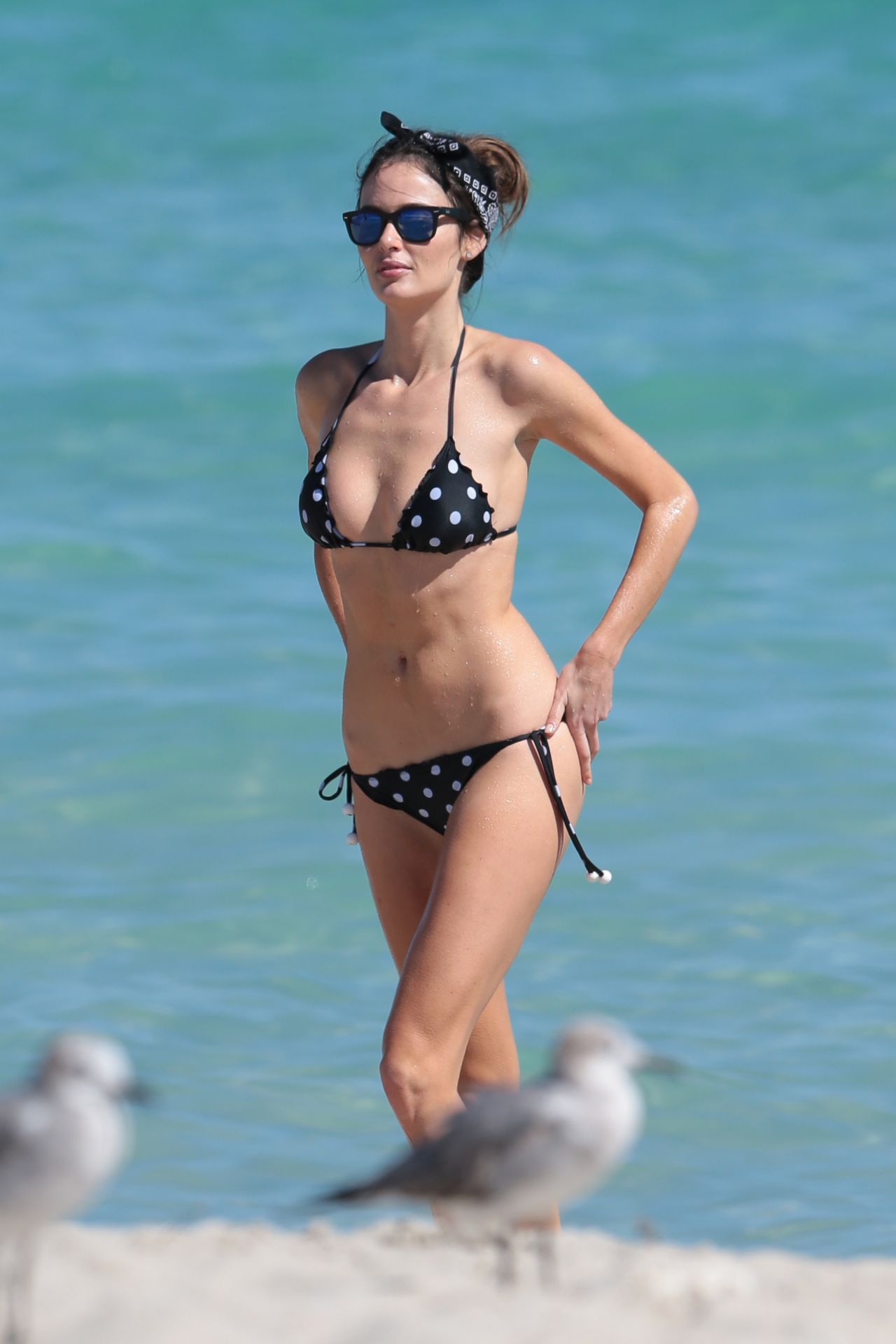 Nicole Trunfio in Polka Dot Bikini - Beach in Miami, February 2014