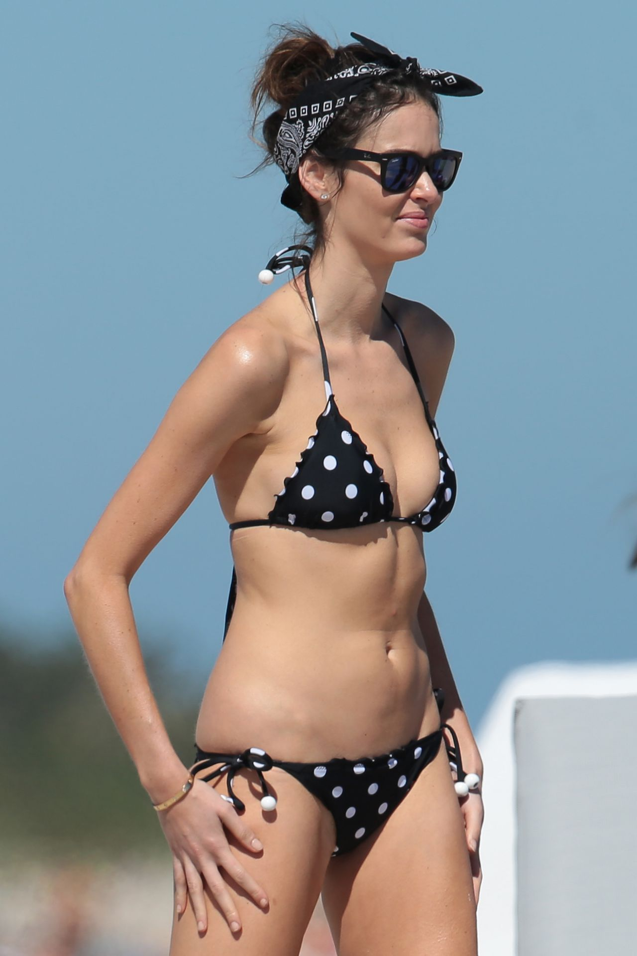 Nicole Trunfio In Polka Dot Bikini Beach In Miami