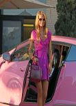 Paris Hilton at Barneys for some Shopping Driving Her Pink Bentley in Los Angeles, February 2014