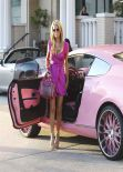 Paris Hilton - Shopping at Barneys & Drives a Pink Bentley Continental GT, February 2014