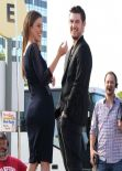 Renee Bargh on the set of Extra in Los Angeles - February 2014