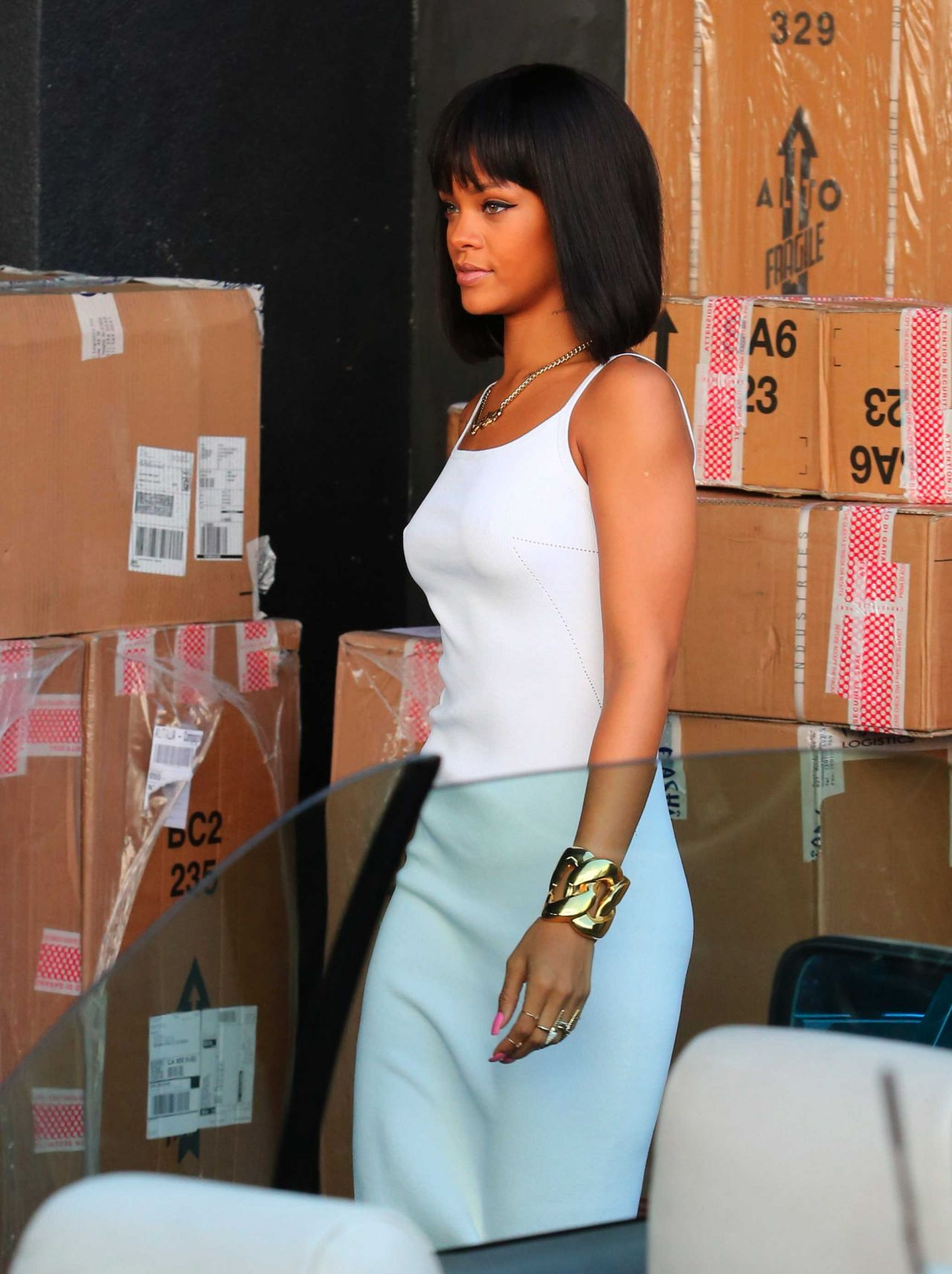 ab4a77046 Rihanna in a White Dress at Moncler Store in Beverly Hills ...