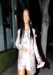 Rihanna Night Out Style - Exits From Dinner at Pizzeria Mozza - February 2014