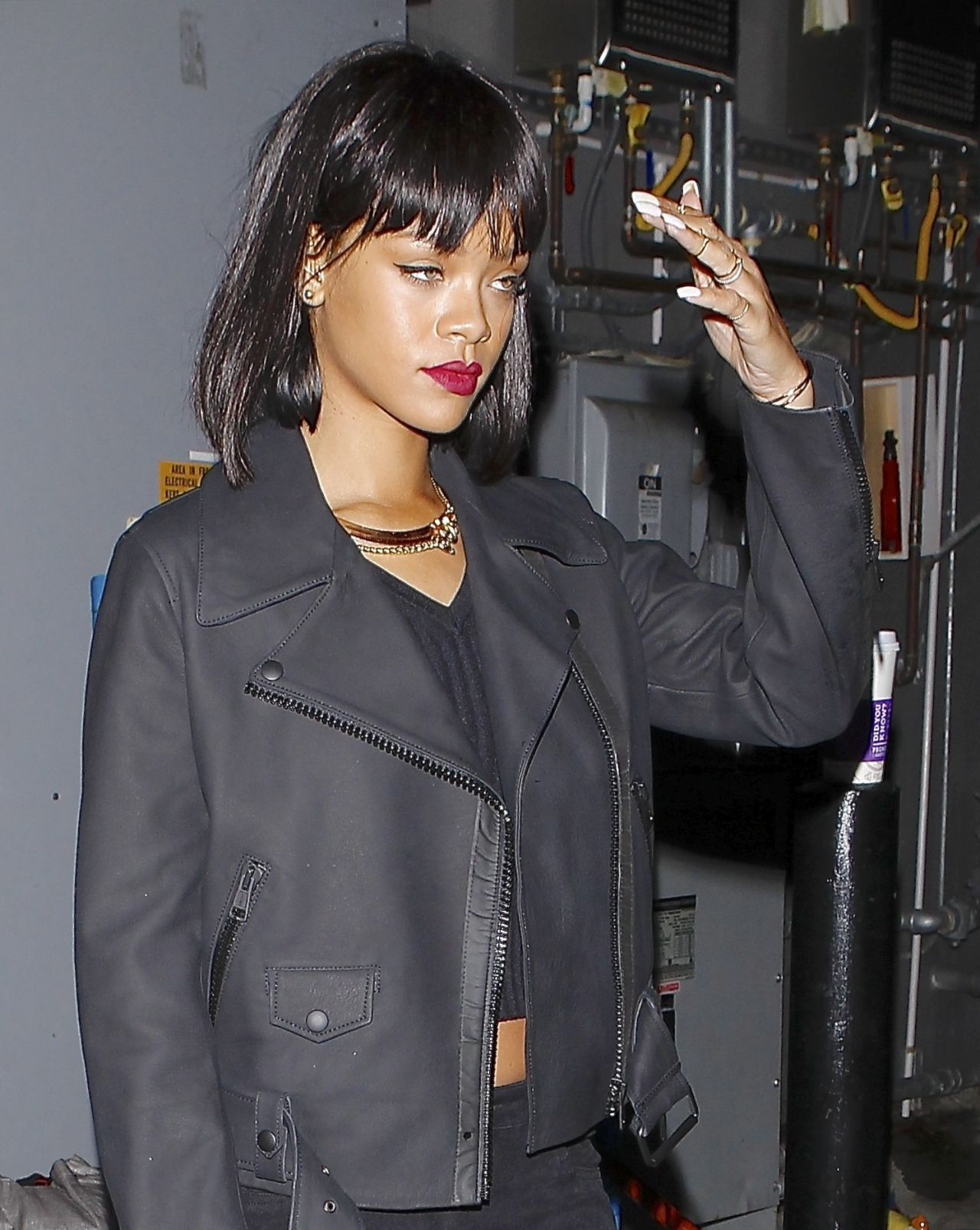 Rihanna Wears Grey - Leaving Hooray Henry