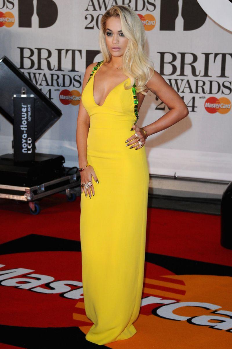 Rita Ora Wearing Prada Dress – 2014 BRIT Awards