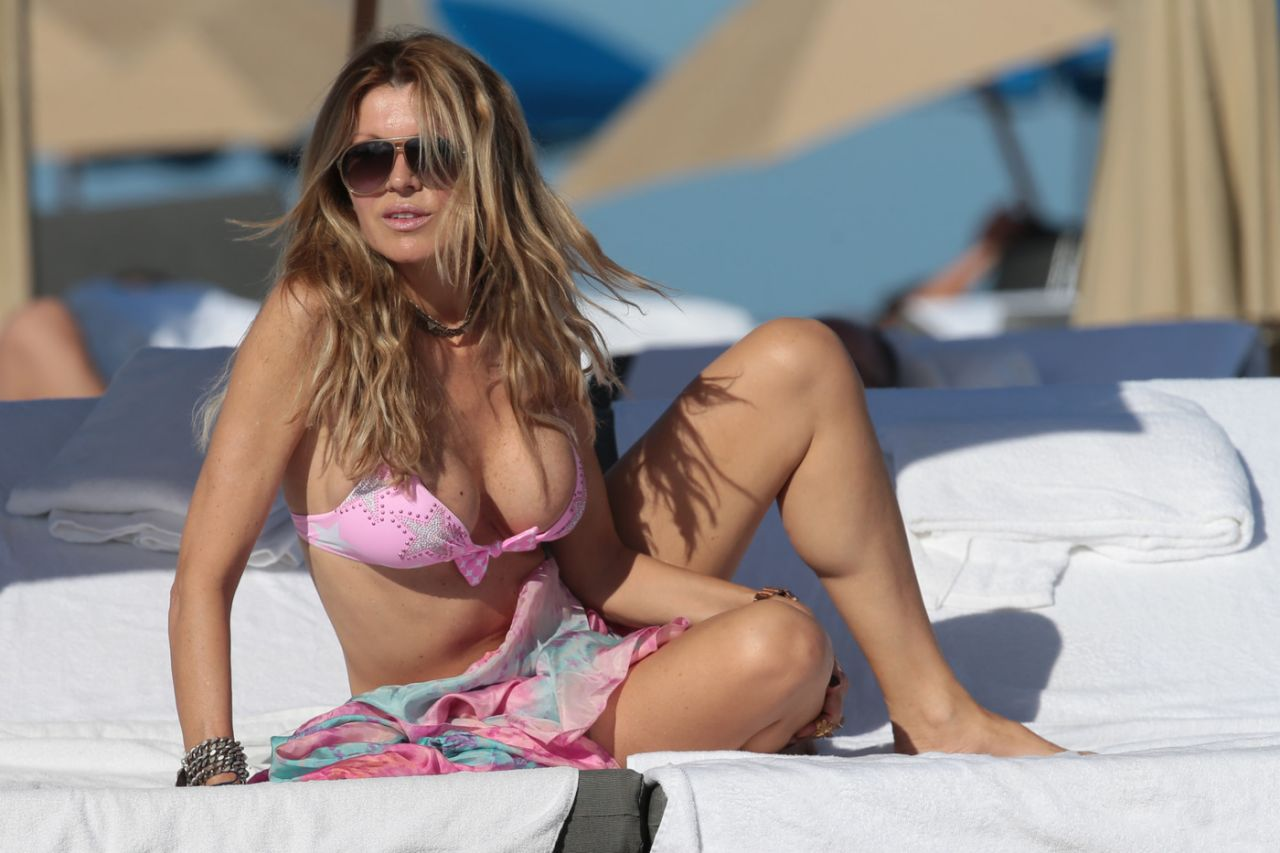 Rita Rusic in a Pink Bikini - Beach in Miami, February 2014