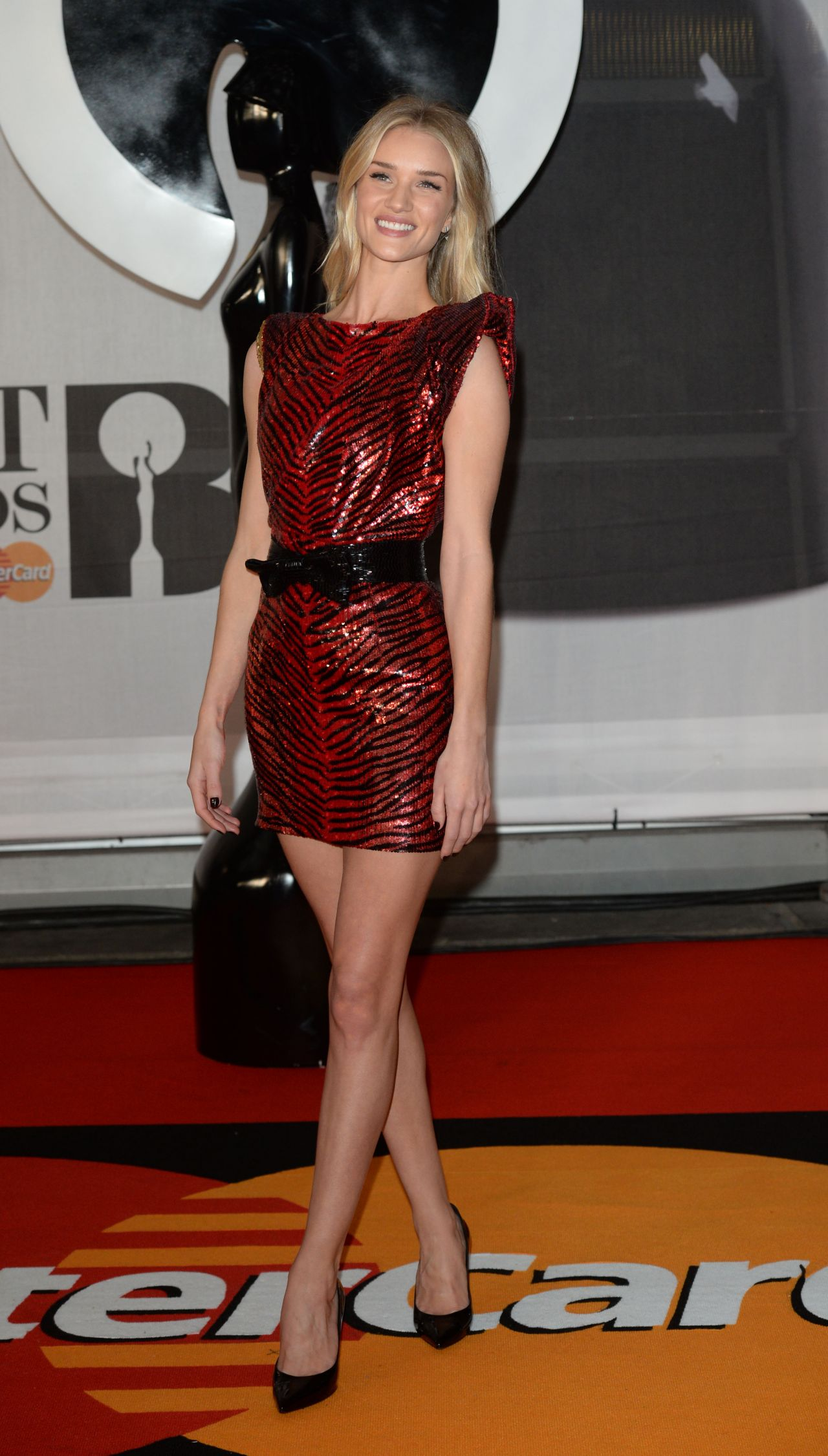 Rosie Huntington-Whiteley Wearing Saint Laurent Mini Dress – 2014 BRIT Awards