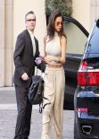 Selena Gomez All in Beige at a Hotel in Beverly Hills - February 2014