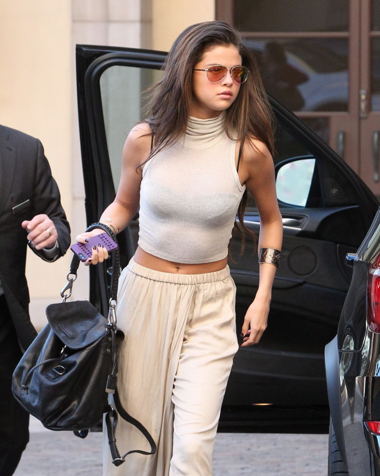 Selena Gomez All in Beige at a Hotel in Beverly Hills ...