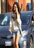 Selena Gomez in Denim Shorts at Little Cafe in Los Angeles, Feb. 2014