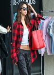 Selena Gomez in Plaid Shirt - Sherman Oaks, California, February 2014