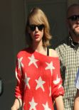 Taylor Swift Wearing a Bright Red Starry Sweater - West Hollywood, February 2014