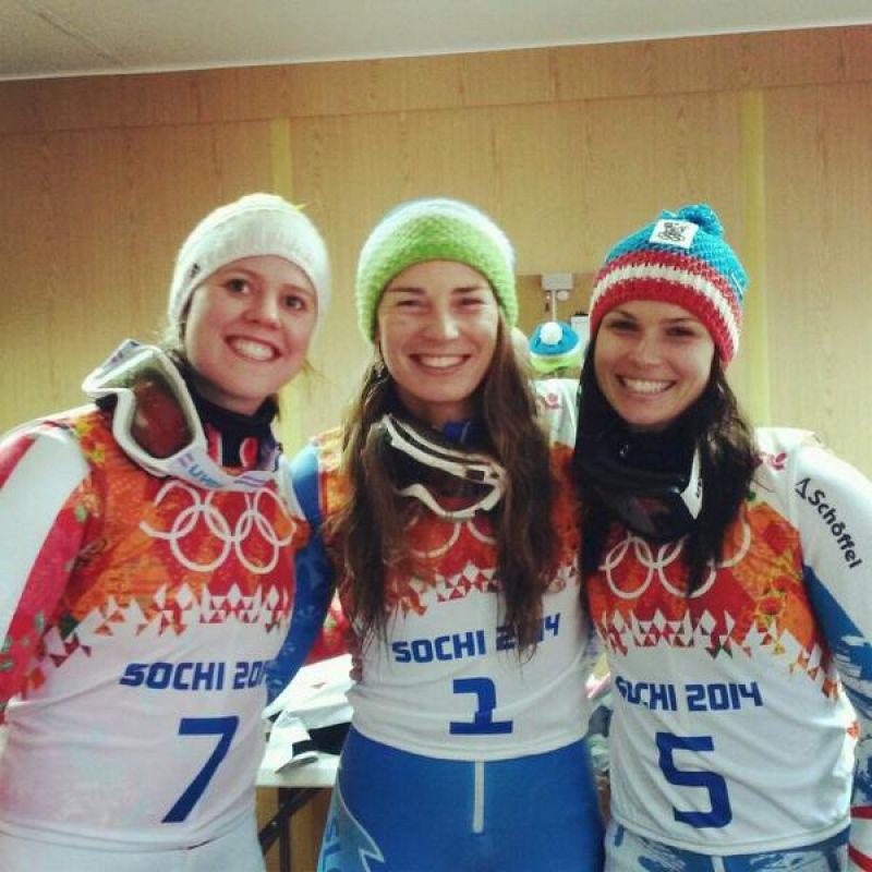 Tina Maze, Anna Fenninger and Viktoria Rebensburg - Giant Slalom Sochi 2014