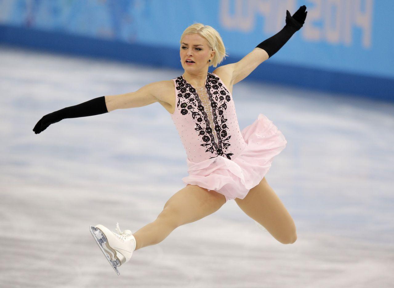 Viktoria Helgesson Performs in the Women's Figure Skating – 2014 Sochi Winter Olympics