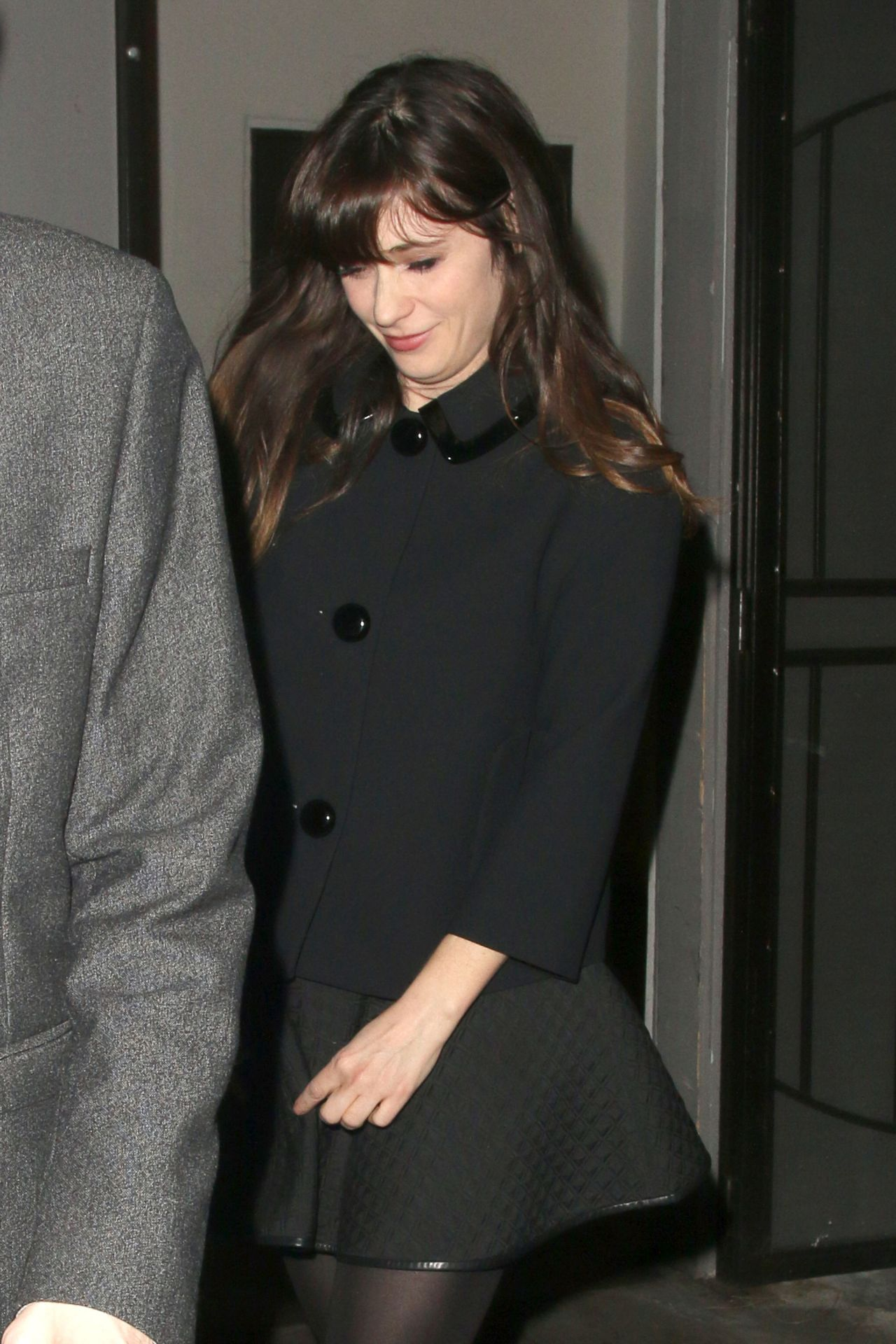 Zooey Deschanel - Leaving The Crossroads Vegan Restaurant in West Hollywood - January 2014
