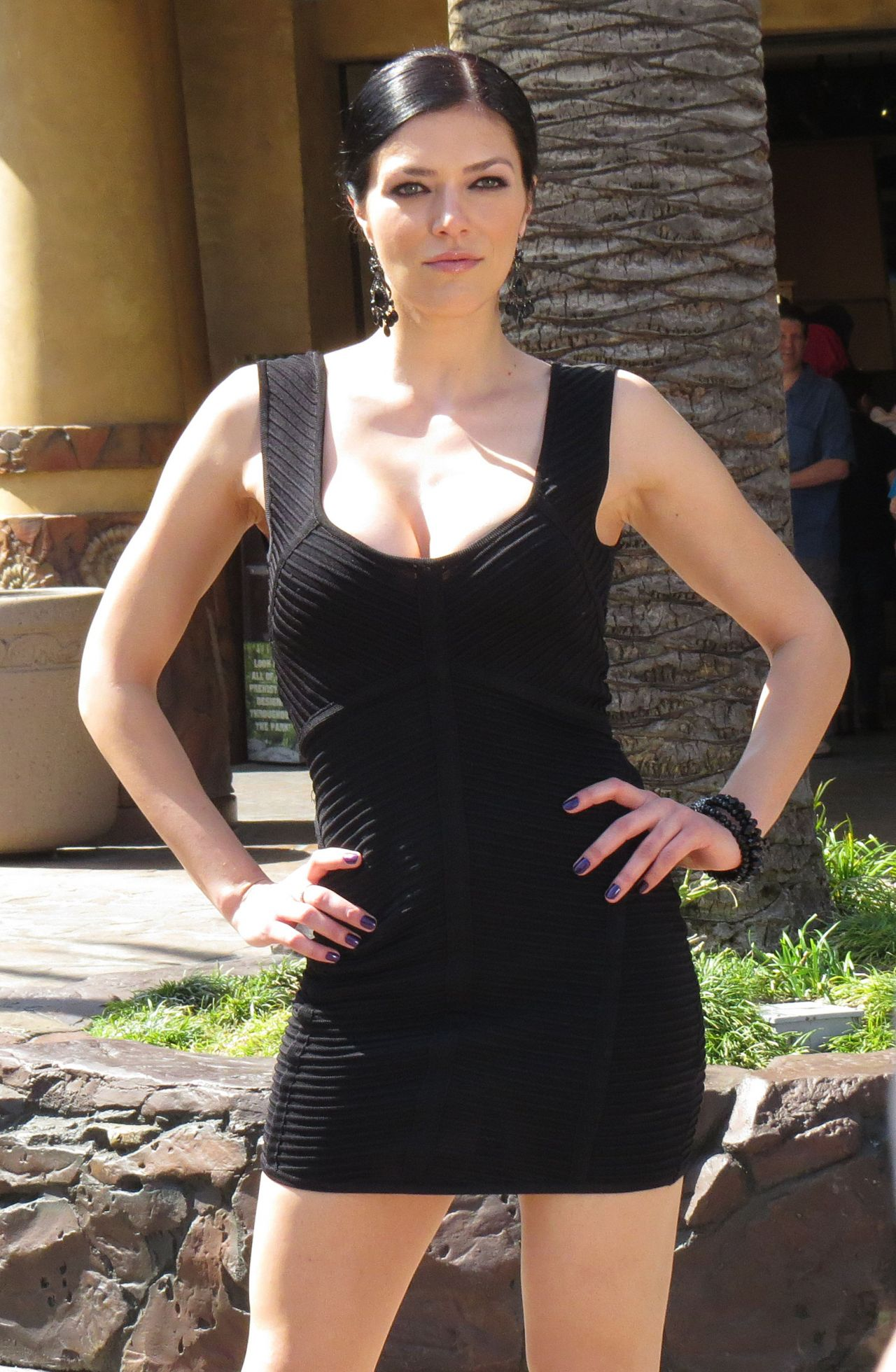 Adrianne Curry in Black Mini Dress - Universal Studios Hollywood