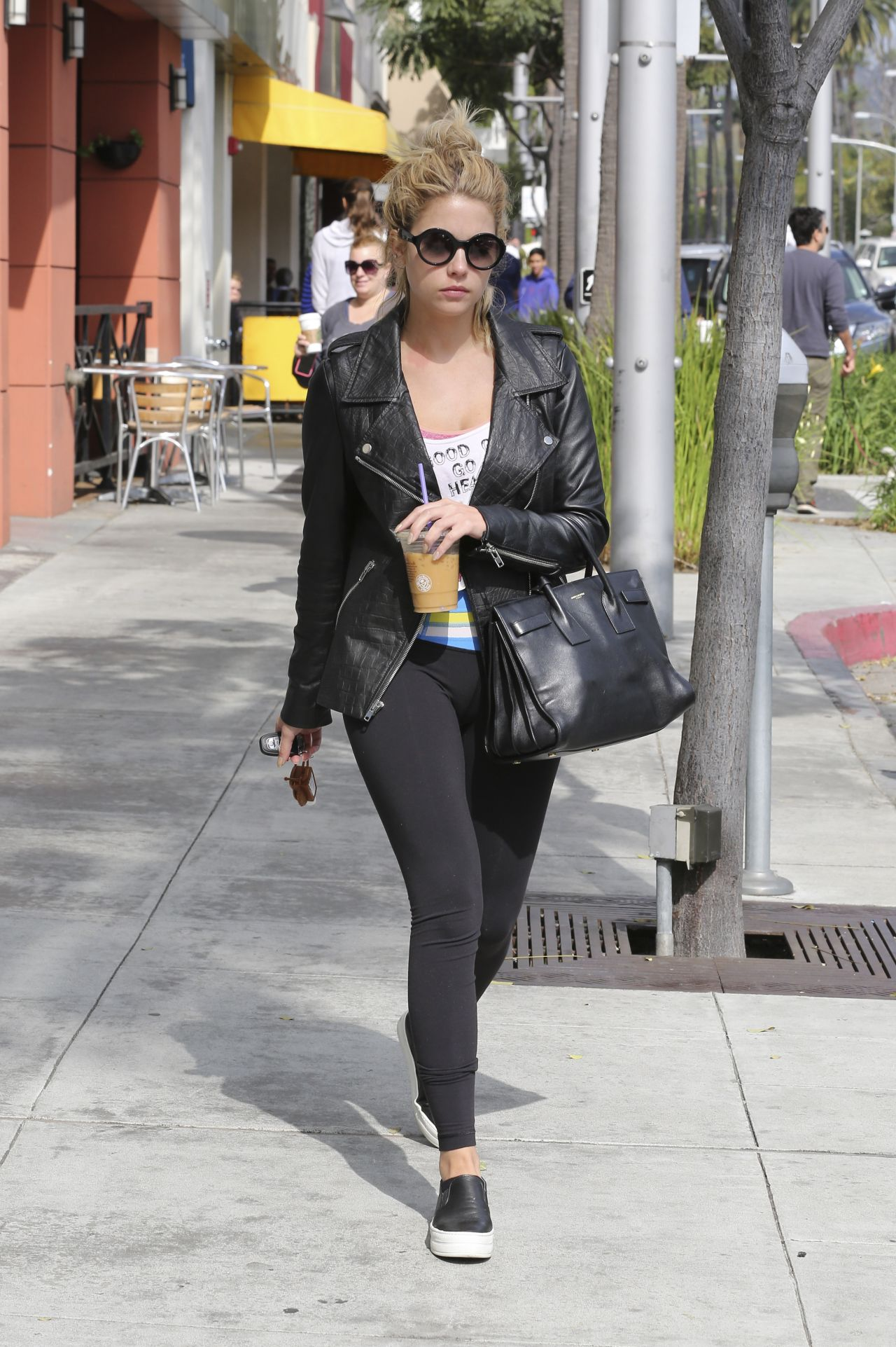 Ashley Benson in Leggings - Coffee Bean & Tea Leaf in Beverly Hills