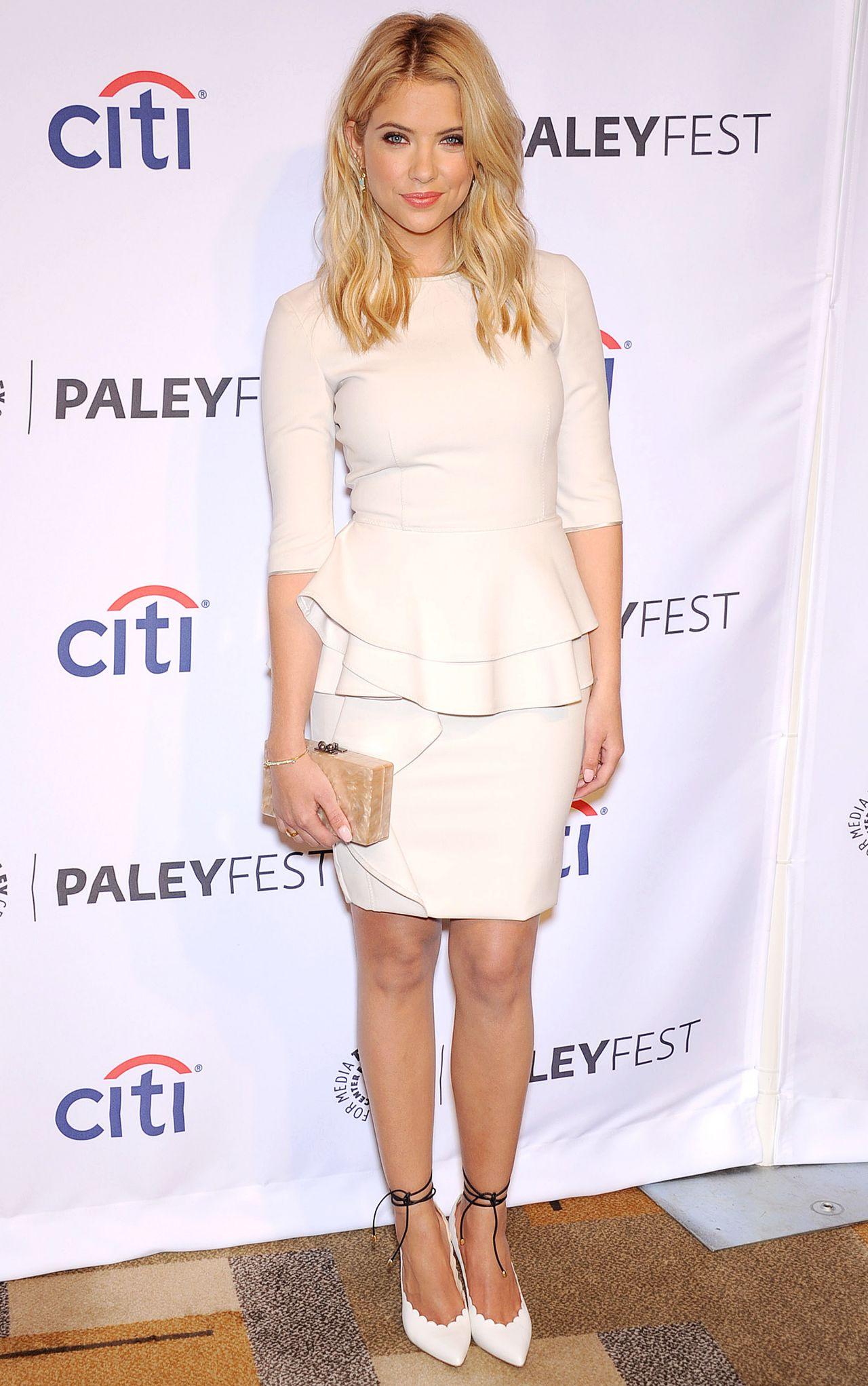 Ashley Benson Wearing Alberta Ferretti Peplum Short Dress