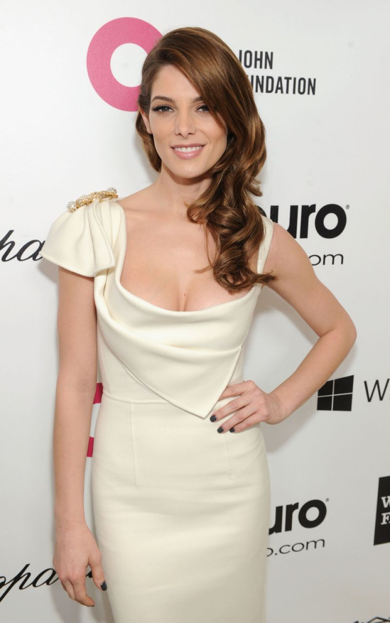 Ashley Greene in Dsquared2 White Dress - 2014 Elton John AIDS Foundation Oscar Party