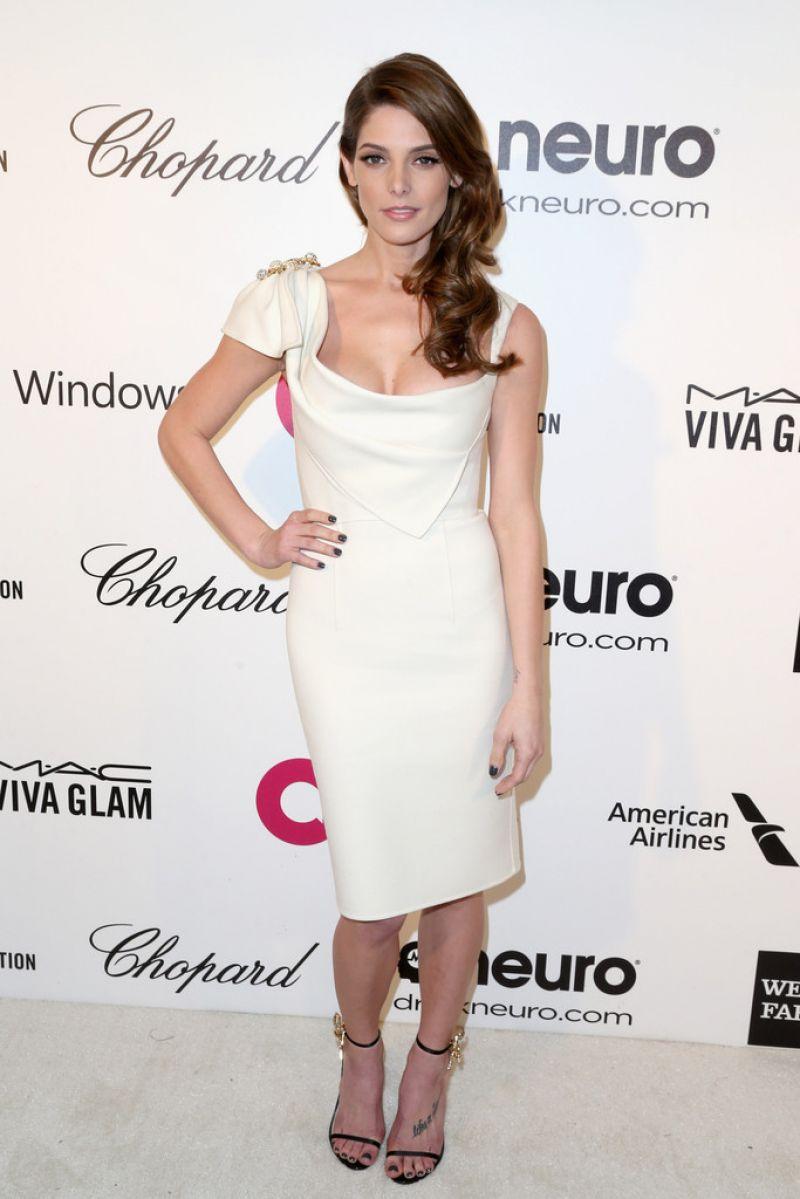 Ashley Greene In Dsquared2 White Dress 2014 Elton John