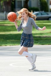 Bella Thorne Plays Basketball – Taking a Break on the Set of 'Mostly Ghostly 2′