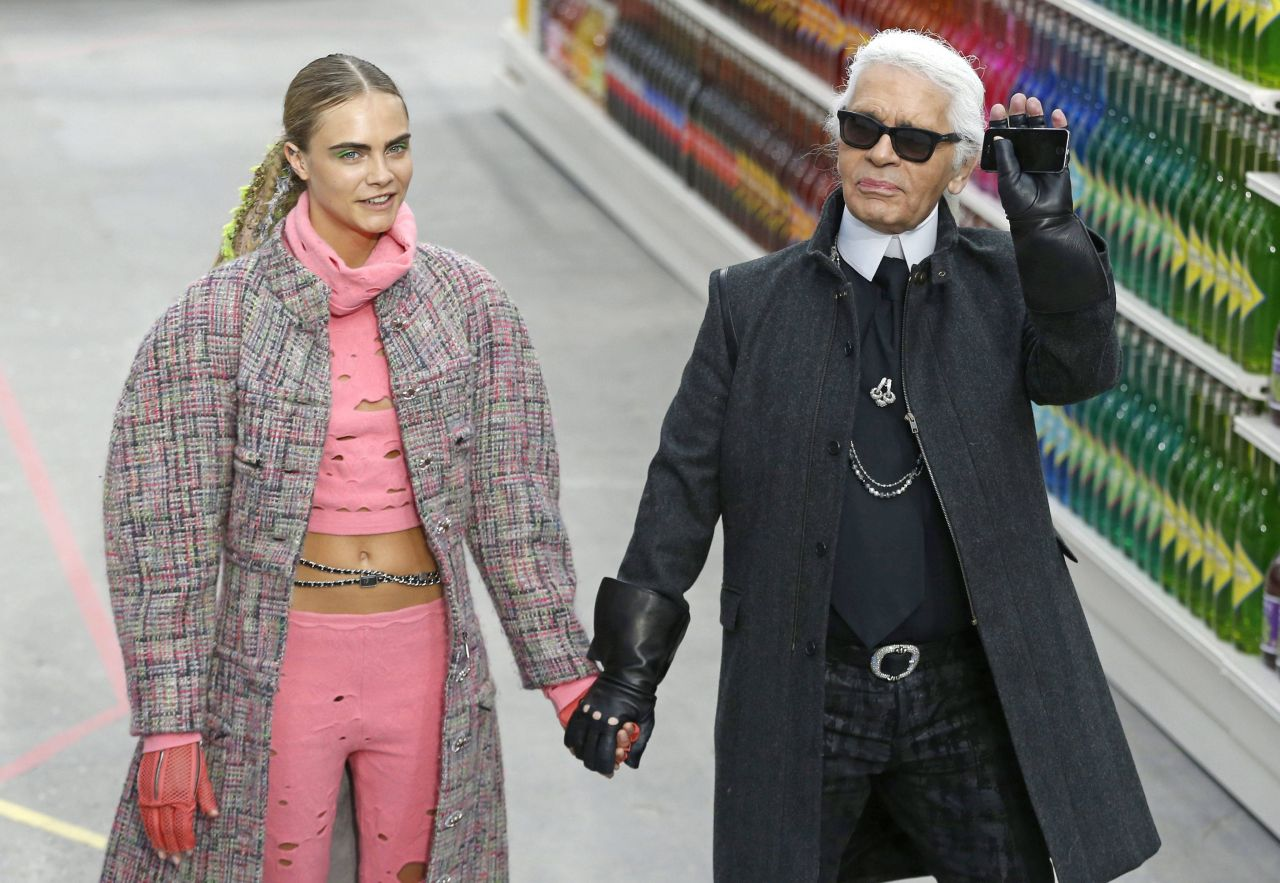 Cara Delevingne and Karl Lagerfeld - Chanel Fashion Show in Paris