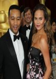 Chrissy Teigen Wearing Monique Lhullier - 2014 Oscars