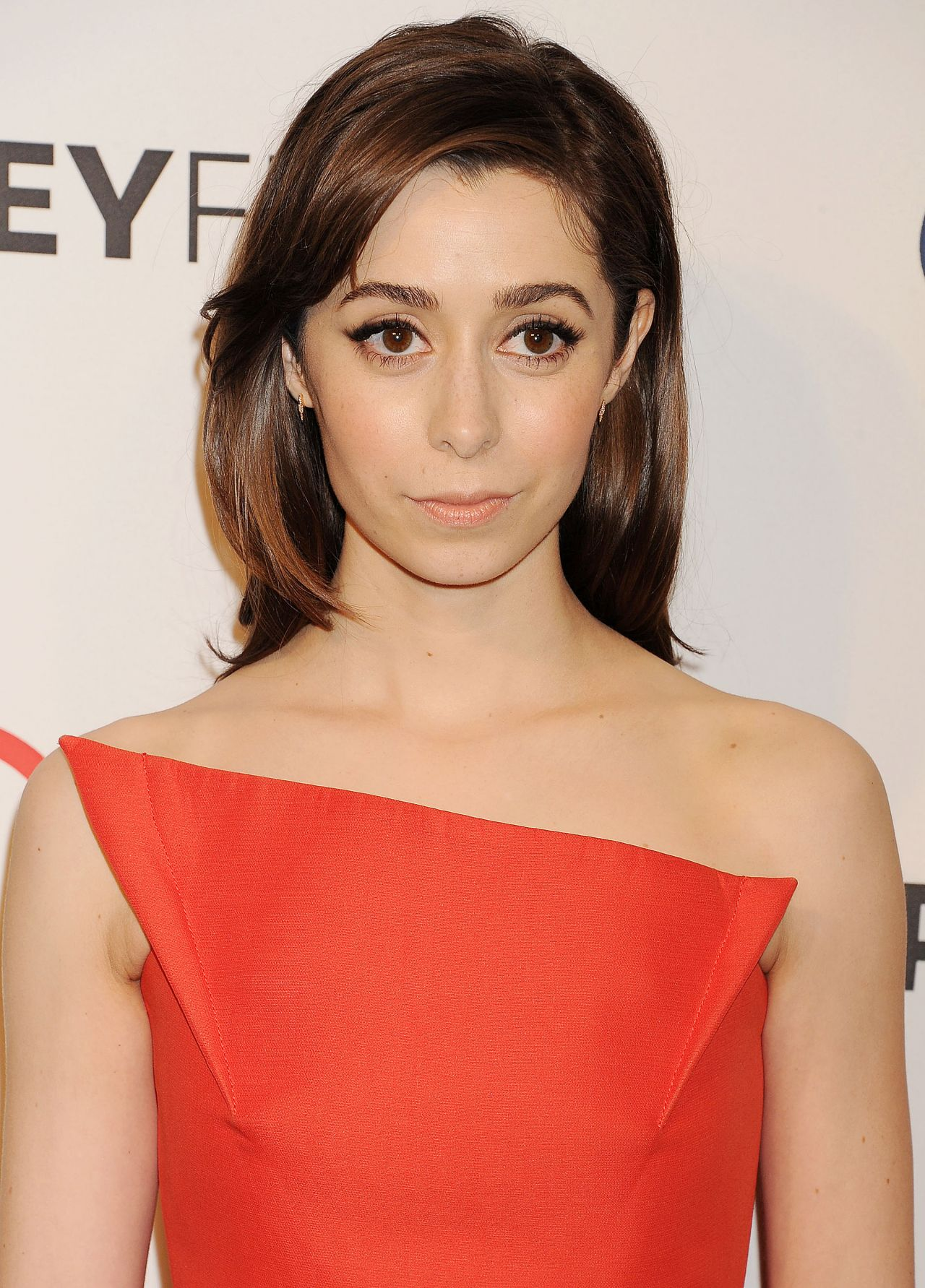 Cristin Milioti Wearing Roland Mouret 'Verdink' Orange Dress - PaleyFest 2014