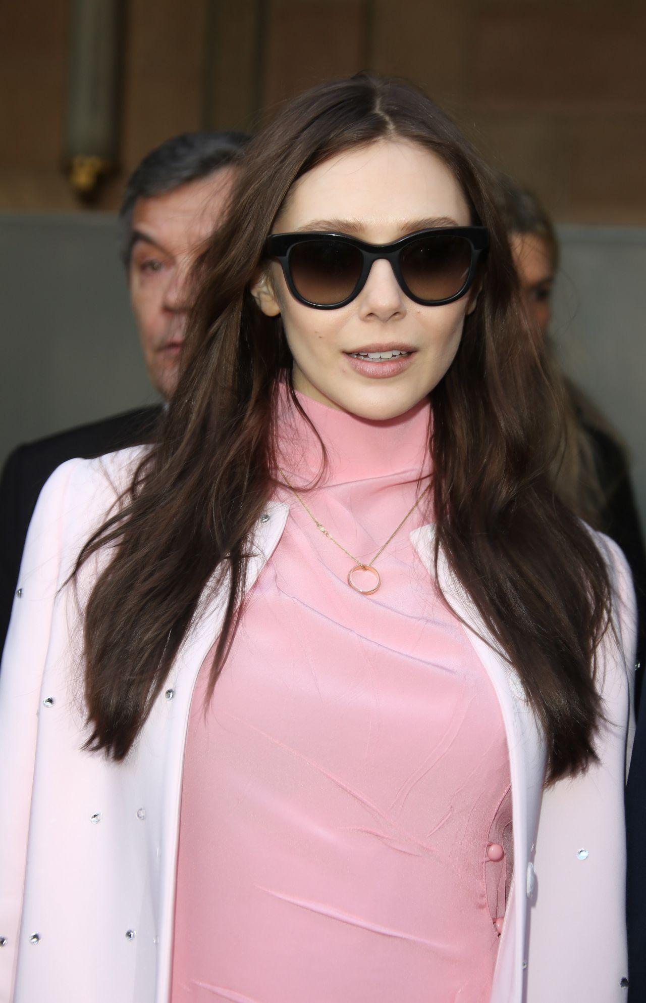 Elizabeth Olsen in Paris - Miu Miu Fashion Show, March 2014