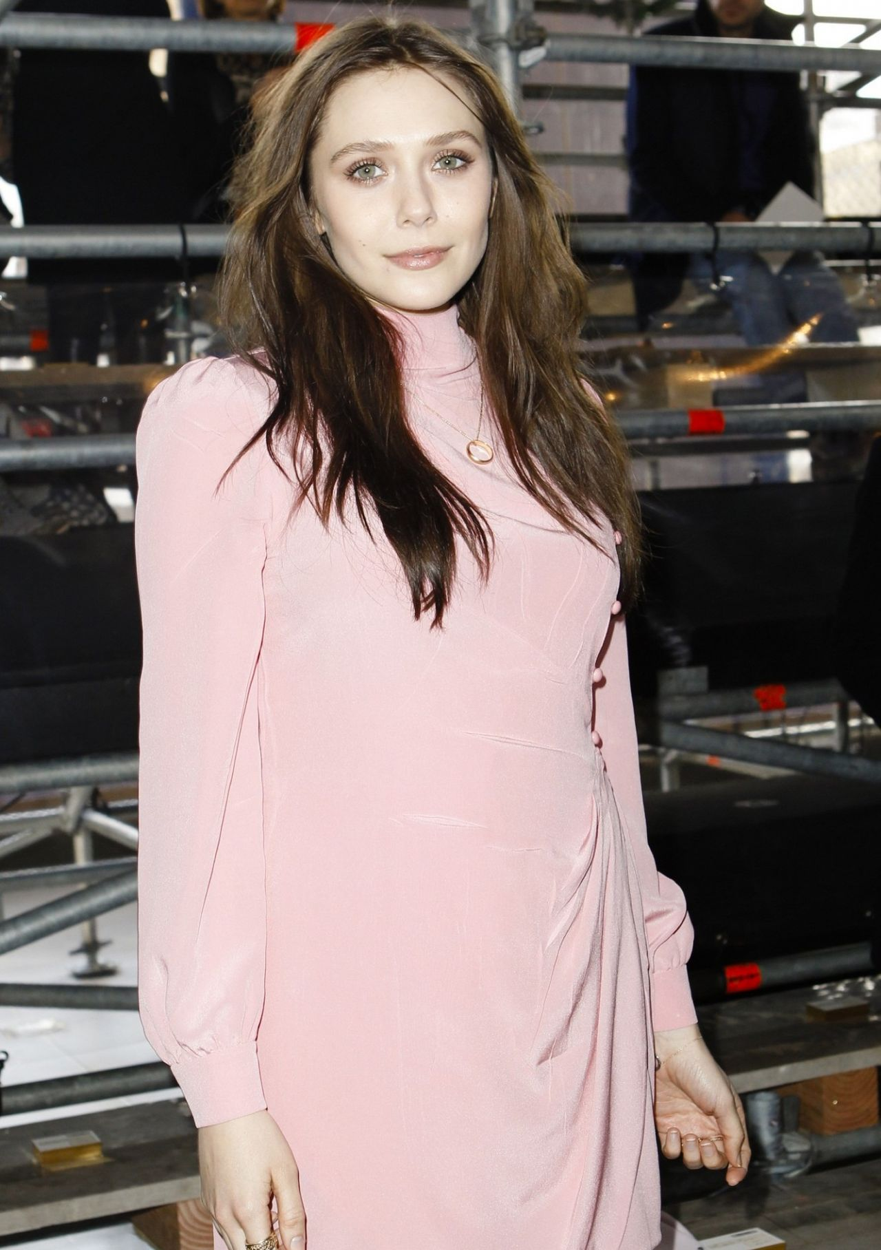 Elizabeth Olsen In Paris Miu Miu Fashion Show March 2014