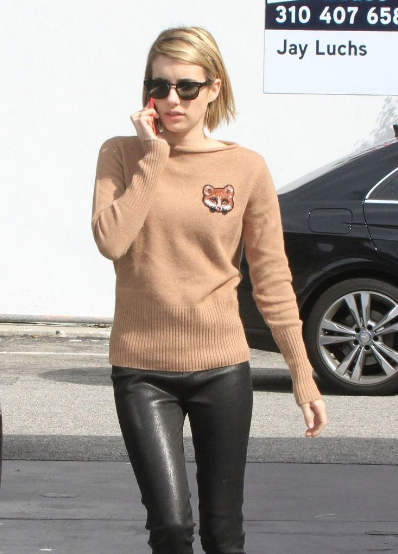 Emma Roberts In Leather Pants Gets Gas In West Hollywood