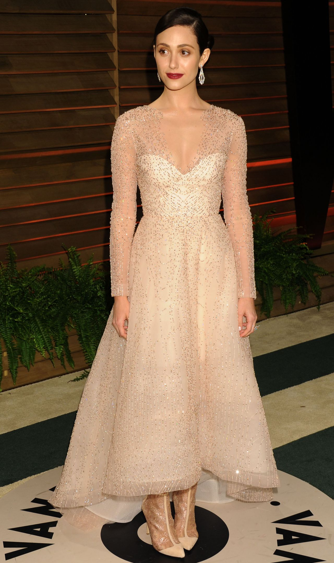 Emmy Rossum Wearing Monique Lhuillier Dress - 2014 Vanity Fair Oscars Party