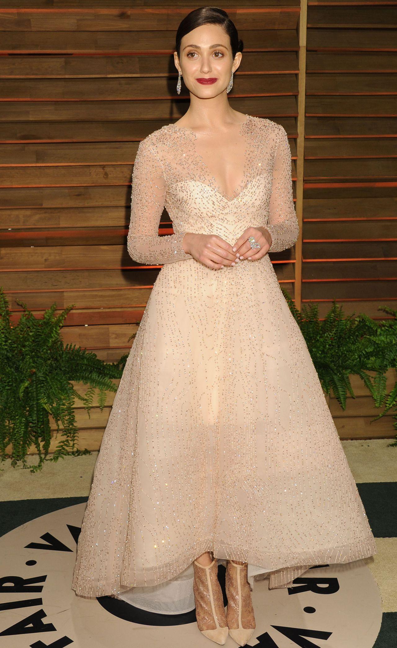 Emmy Rossum Wearing Monique Lhuillier Dress - 2014 Vanity Fair ...