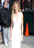 Erin Andrews in White Dress at the Late Show with David Letterman in New York City