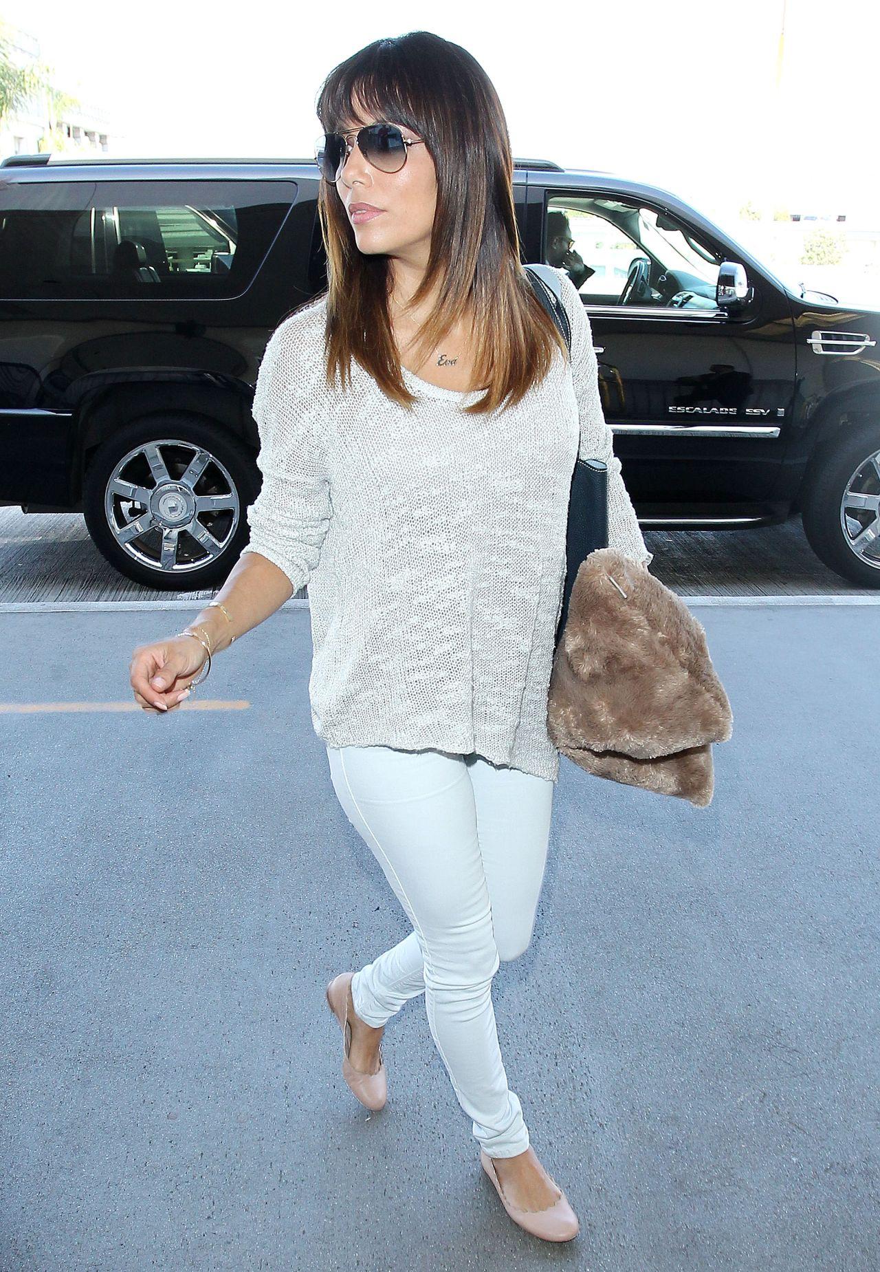 Eva Longoria Casual Style Los Angeles International Airport March 2014