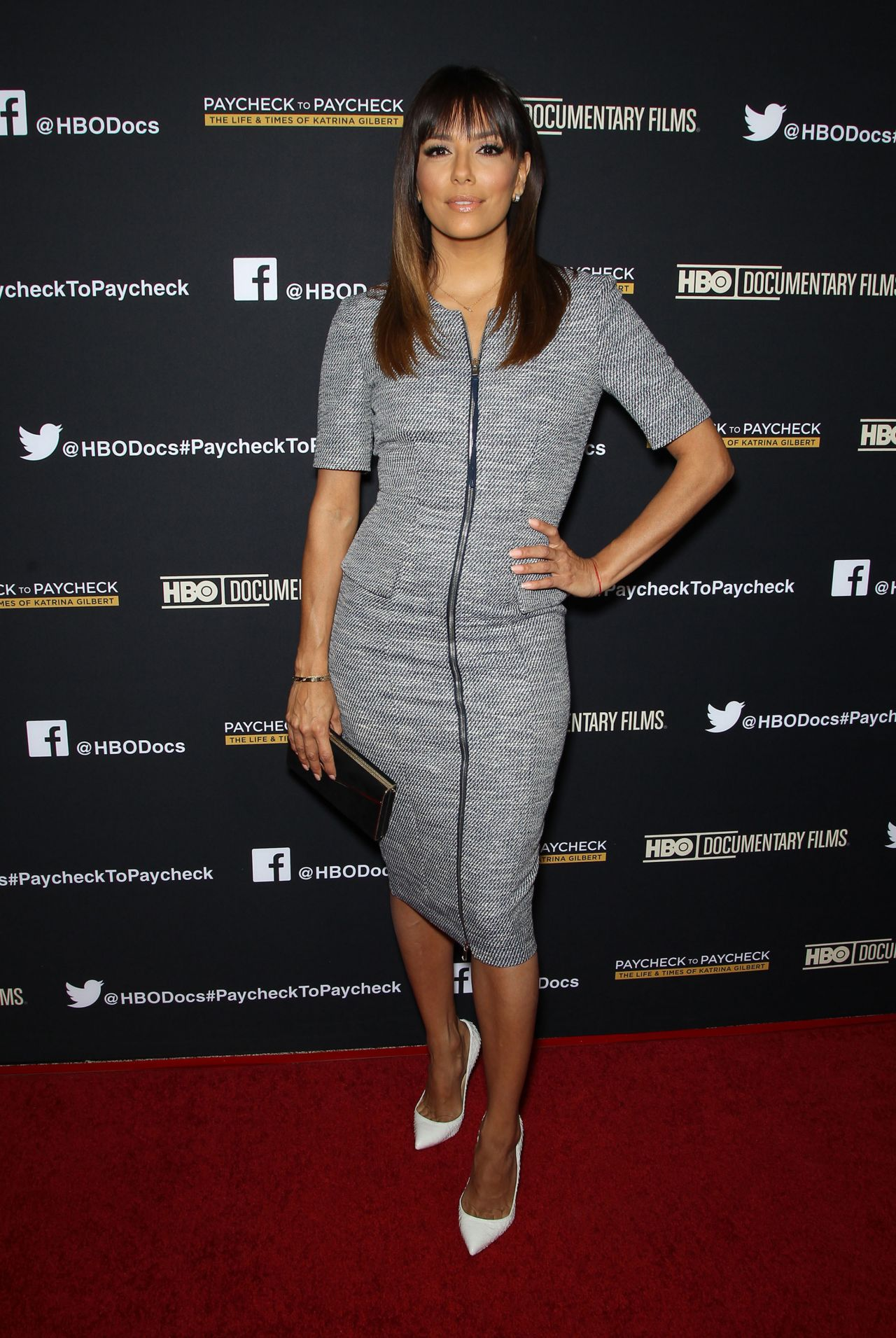 Eva Longoria in Philosophy Navy-And-White Tweed Dress -