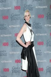 Gwendoline Christie Wearing Giles Giles Satin Dress- 'Game of Thrones' Season 4 Premiere in New York City