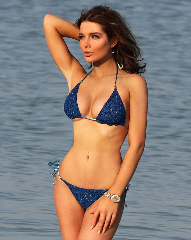 Helen Flanagan in a Blue Bikini in Dubai - March 2014