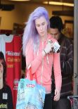 Ireland Baldwin Street Style - Spotted With Purple Hair Shopping In Tarzana