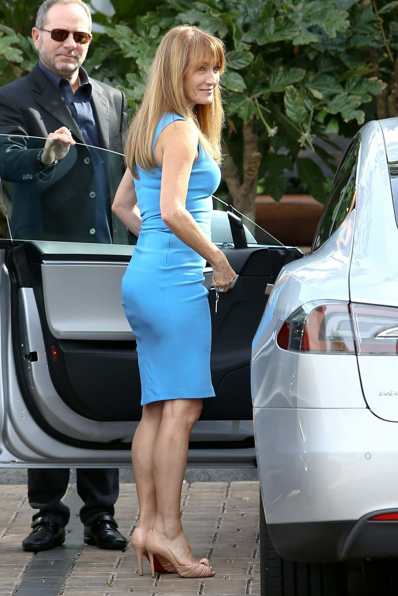 Jane Seymour In Blue Dress Cafe Habana Malibu