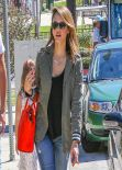 Jessica Alba Casual Street Style - Out in Brentwood & Beverly Hills, March 2014