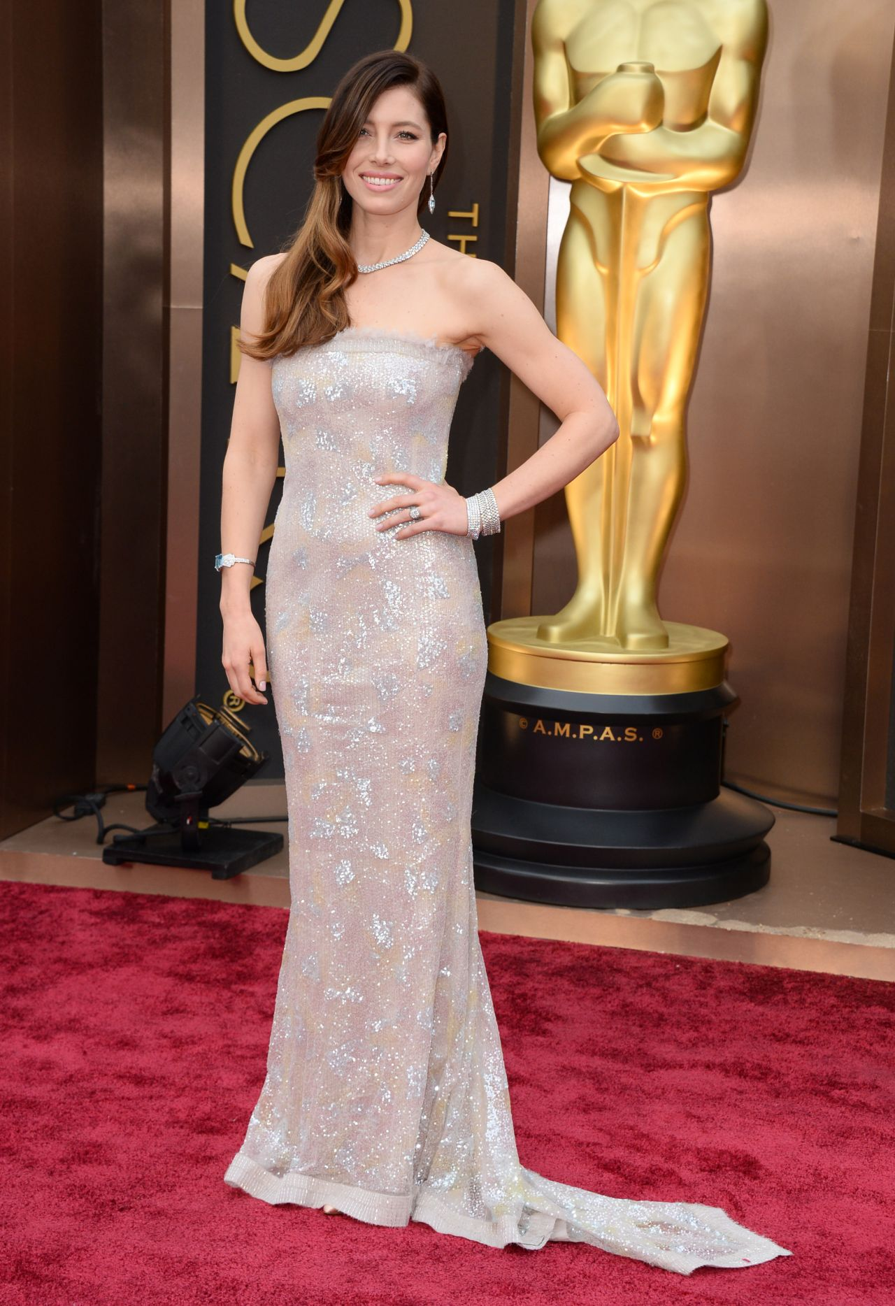 Jessica Biel Wearing Chanel Couture Dress - 2014 Oscars